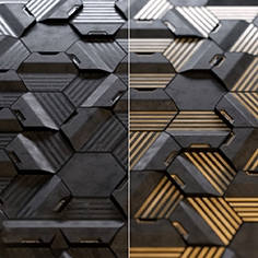 Hexagonal wall panels made of wood and concrete