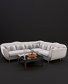 Corner sofa Keoma salotti neoclassico, coffee table Horchow Amelie Mirrored