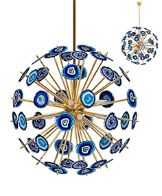 Chandelier with blue agate