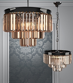 Chandelier RH 1920s Odeon Smoke Glass Fringe - 3 rings