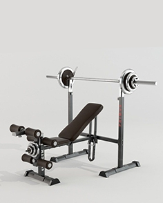 Simulator with power bench and barbell