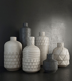 Pressed pattern vases