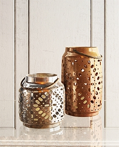 Crate & barrel wisteria metallic ceramic lanterns