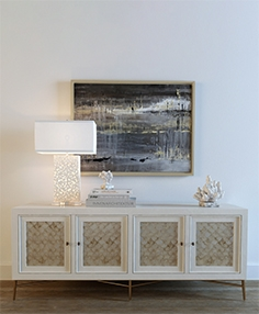 Leslie Capiz chest of drawer with table lamp 56