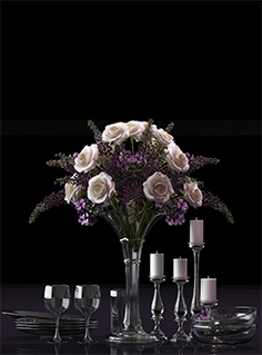 Decorative set with vase of flower 06