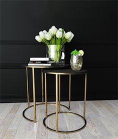 Pierce Shagreen table with flowers